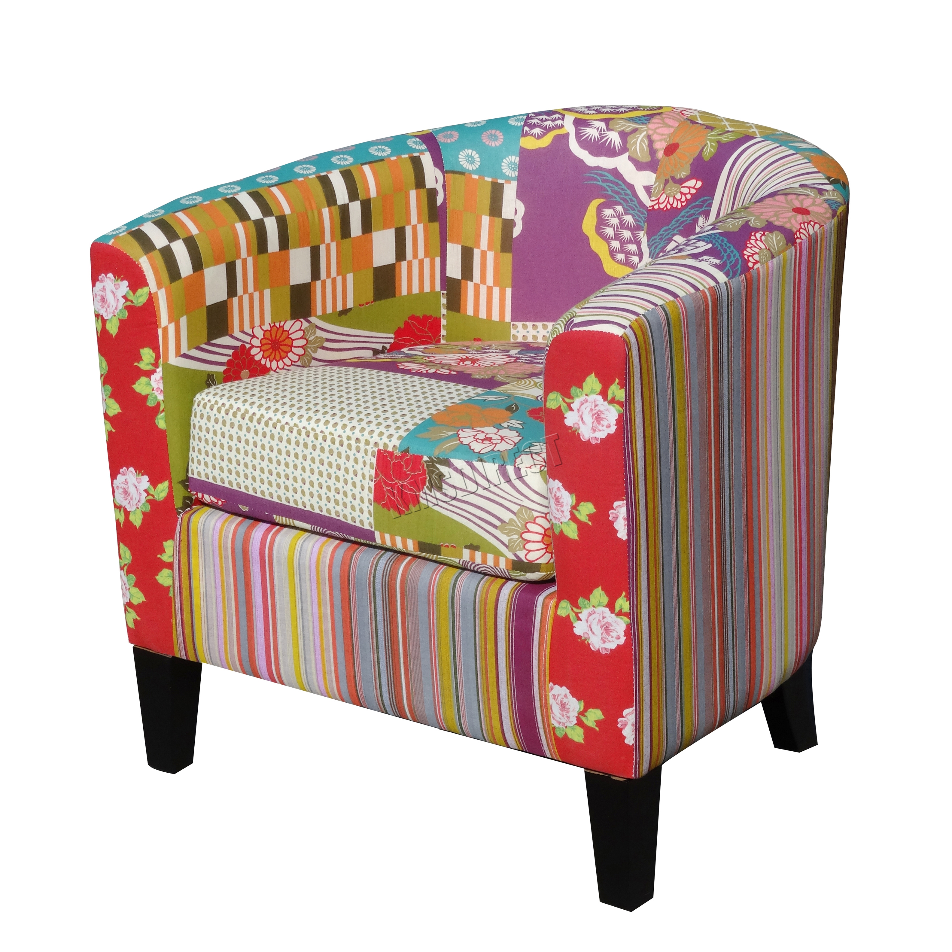 Foxhunter patchwork tub chair fabric vintage armchair seat for Retro space fabric uk