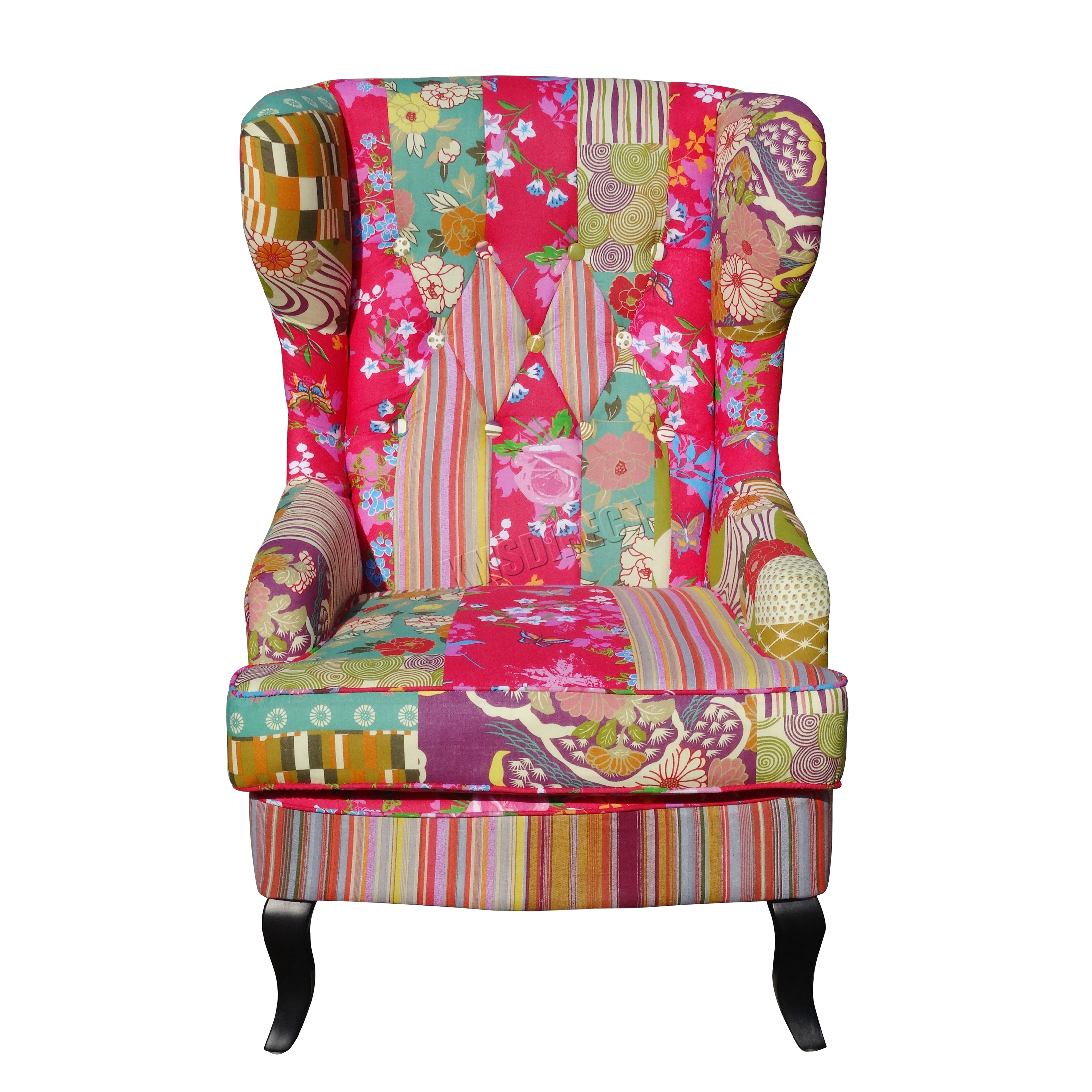 FoxHunter Patchwork Chair Fabric Vintage Armchair Seat ...