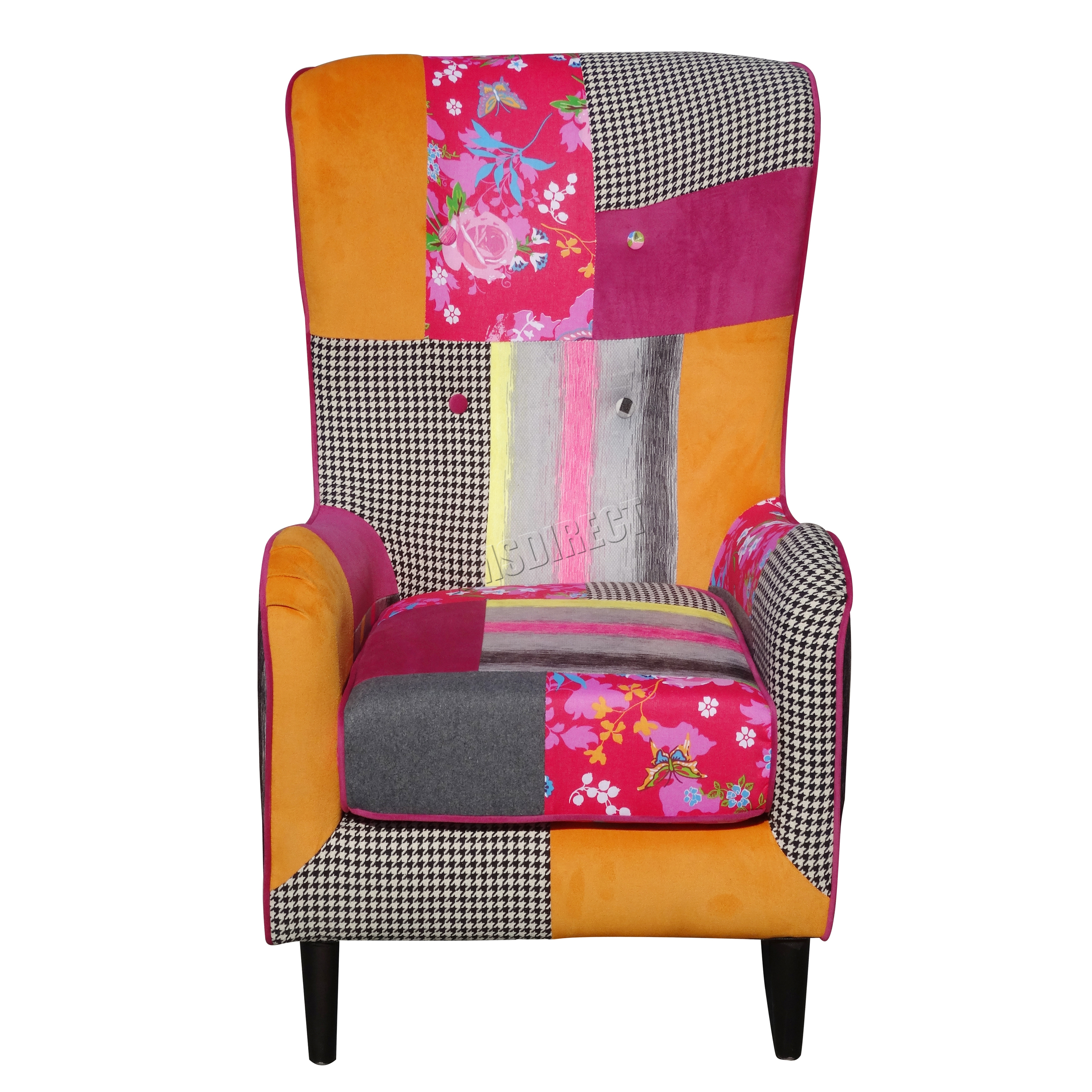 Foxhunter patchwork chair fabric vintage armchair seat for Retro space fabric uk