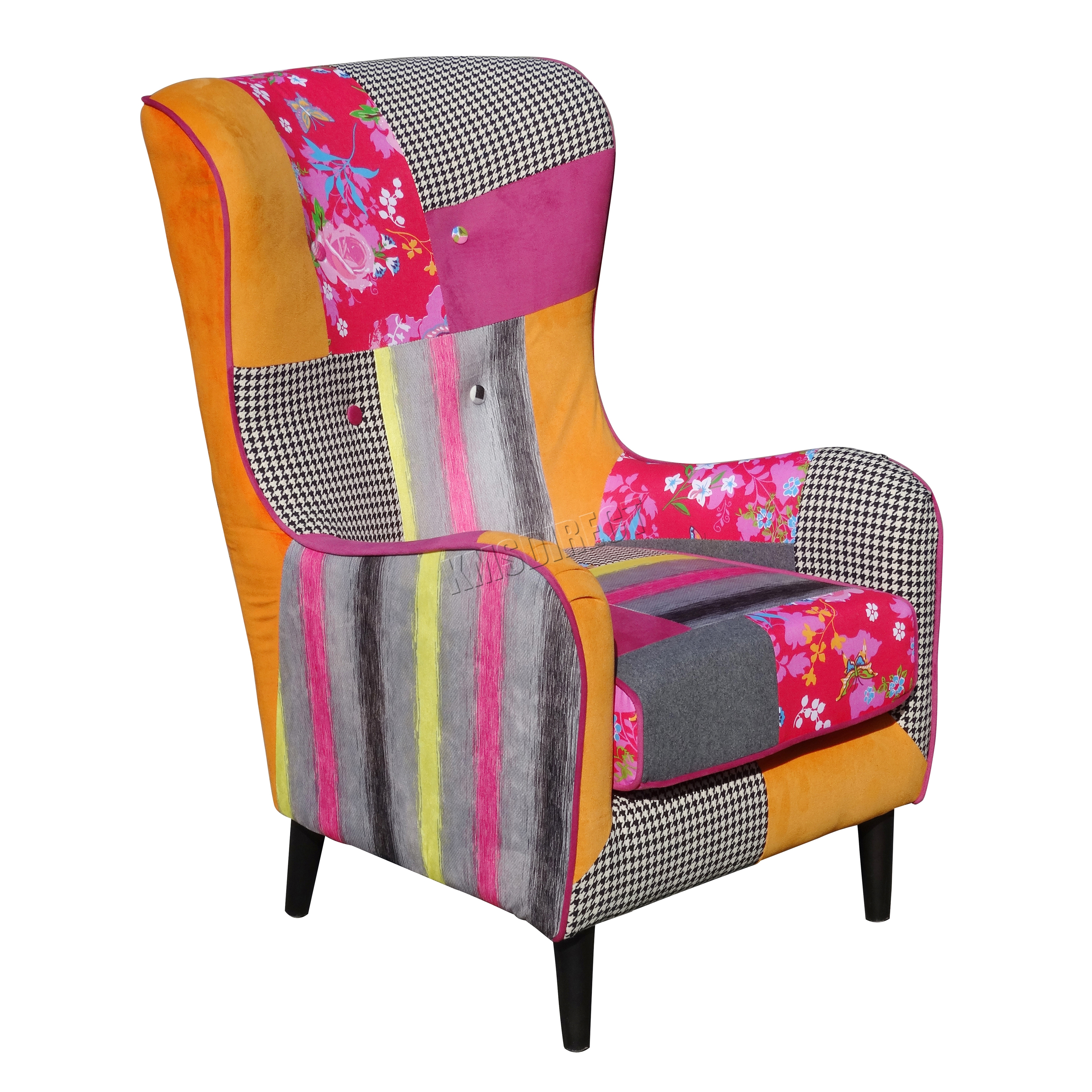 Foxhunter Patchwork Chair Fabric Vintage Armchair Seat Dining With Patchwork  Chair