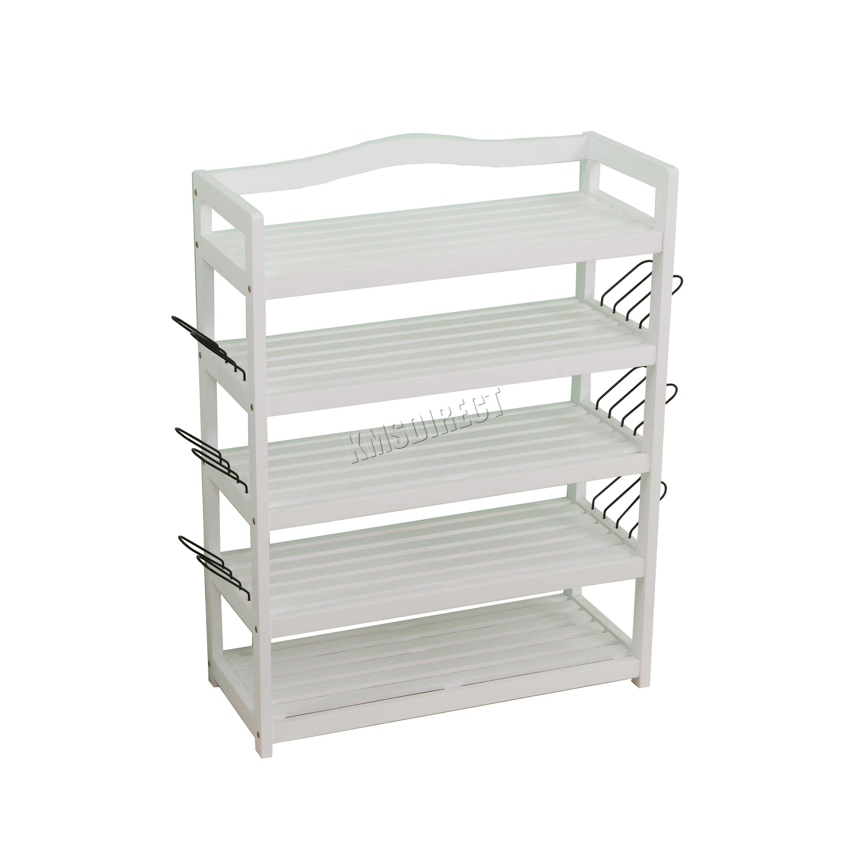 foxhunter 5 tier shoe rack organiser storage wood home furniture white srw01 ebay