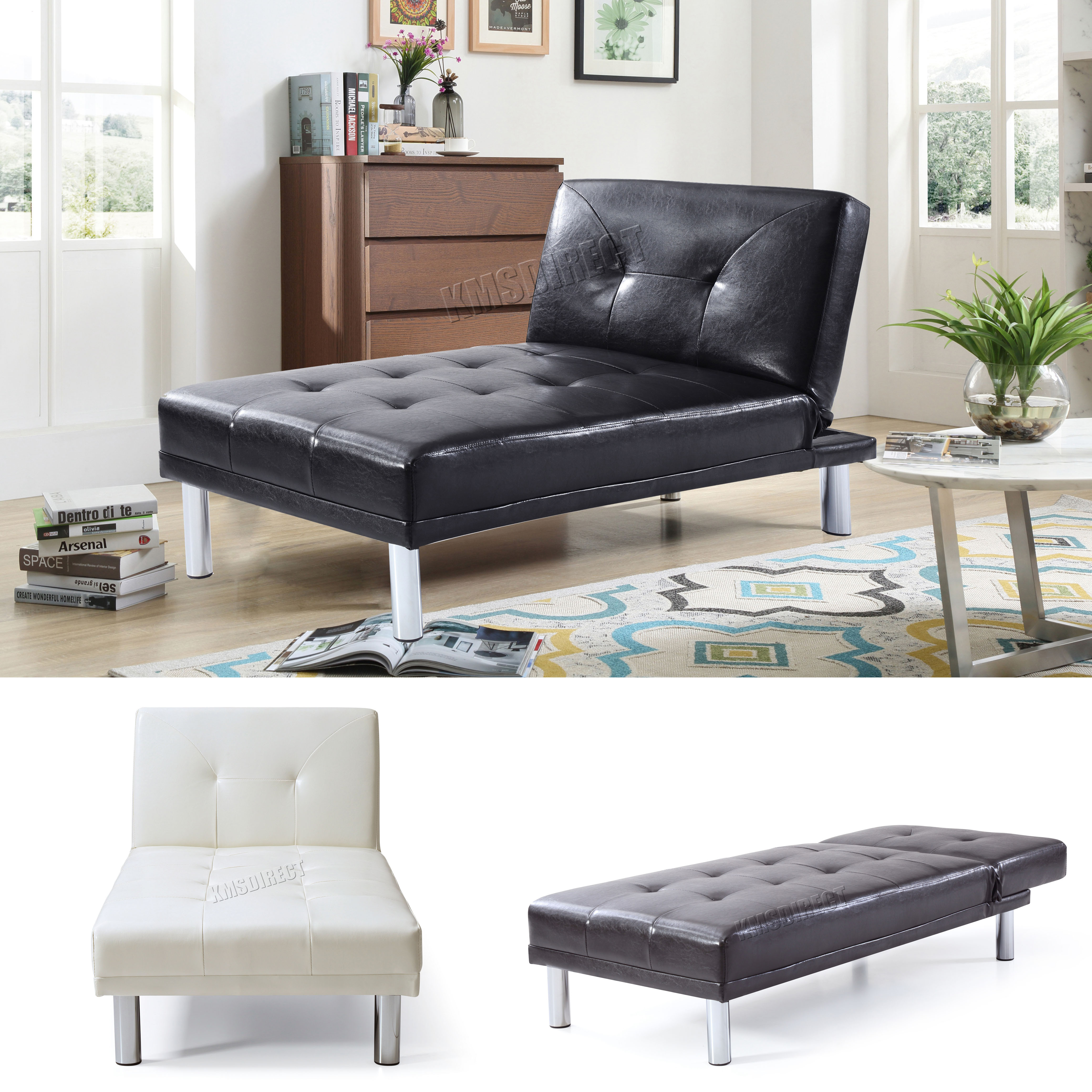 Foxhunter chaise longue single sofa bed 1 seater couch faux leather chair psb03 ebay Single couch bed