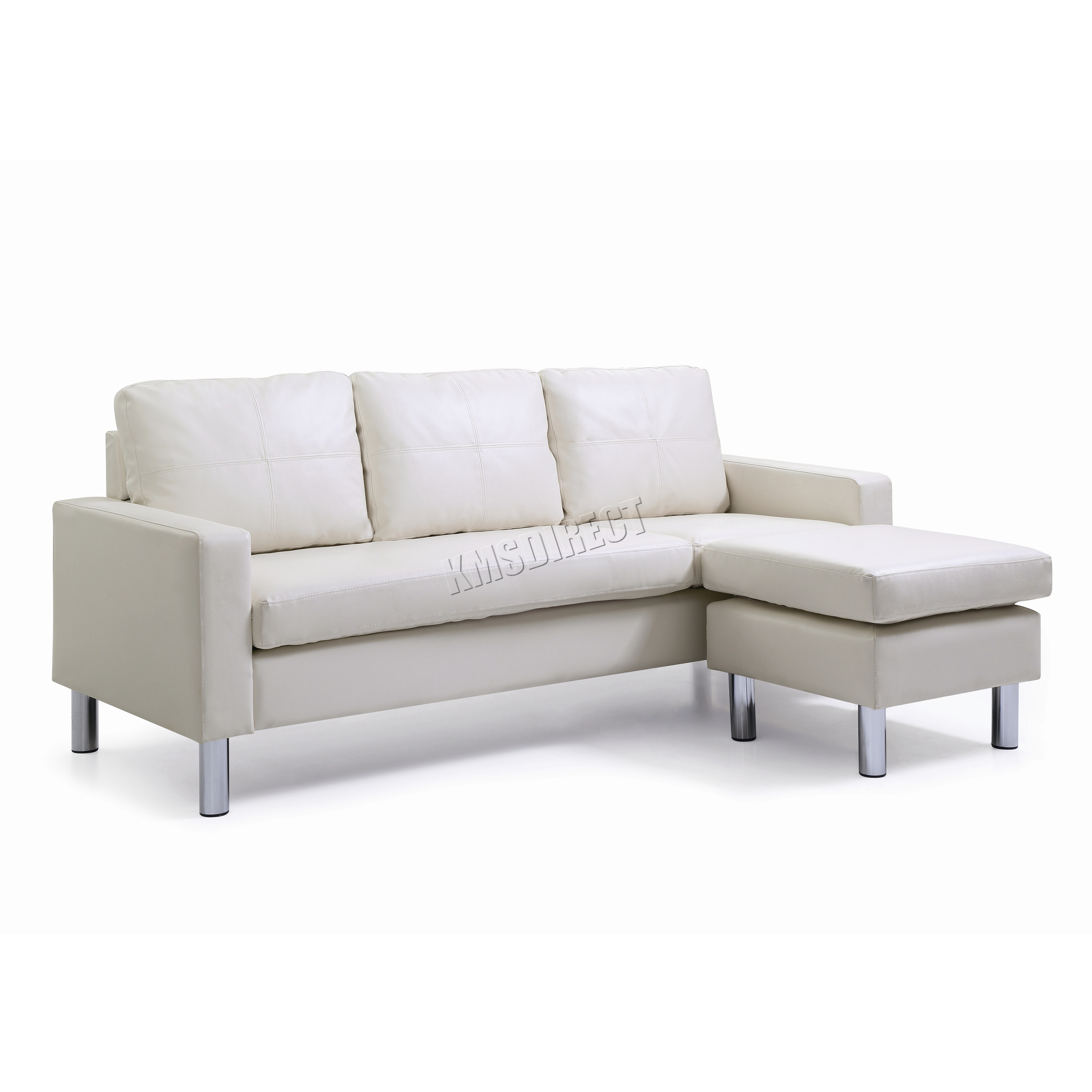 Foxhunter Modern Pu L Shaped Corner 3 Seater Sofa With Chaise Longue Pls01 White Ebay