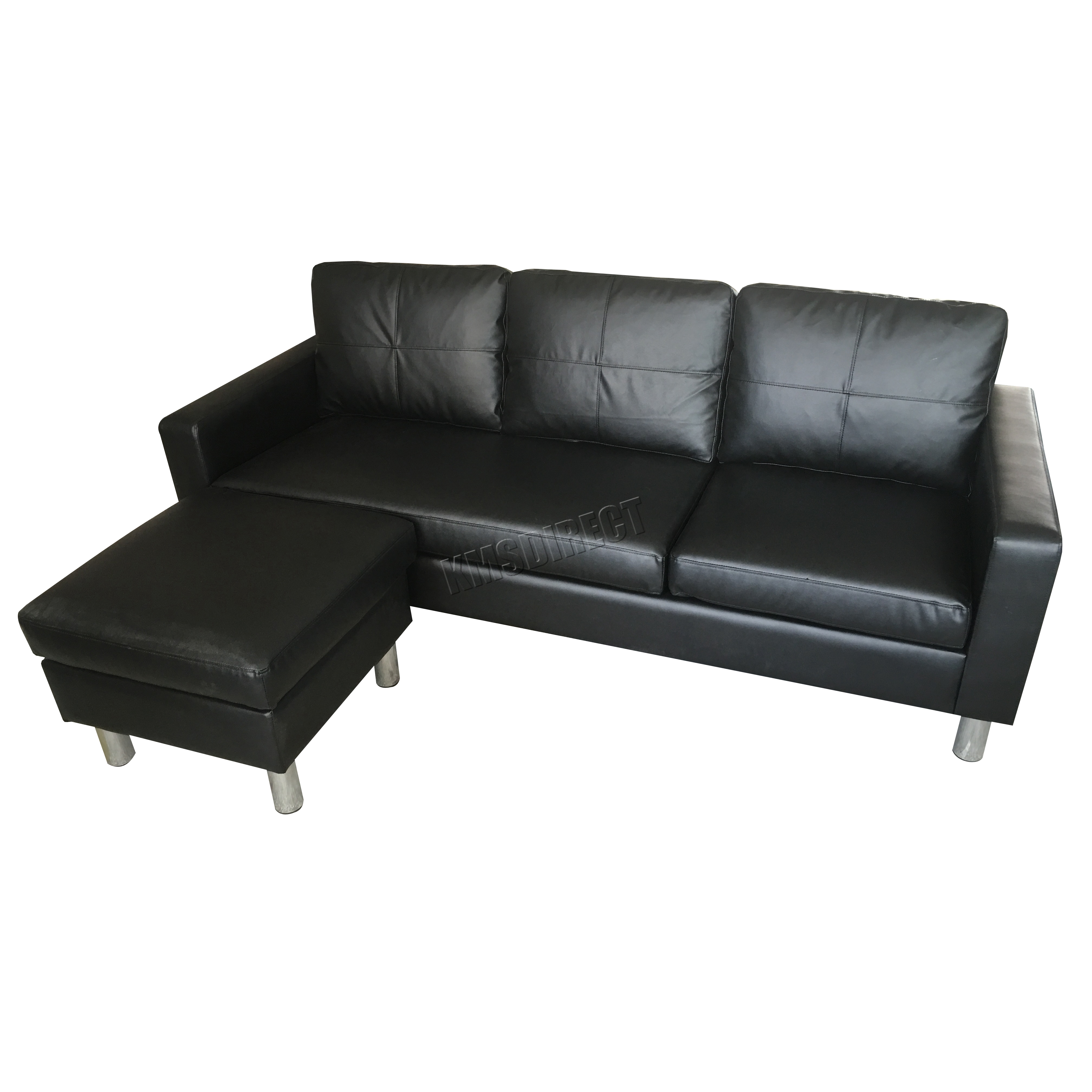 Foxhunter modern pu l shaped corner 3 seater sofa with for Chaise longue corner sofa