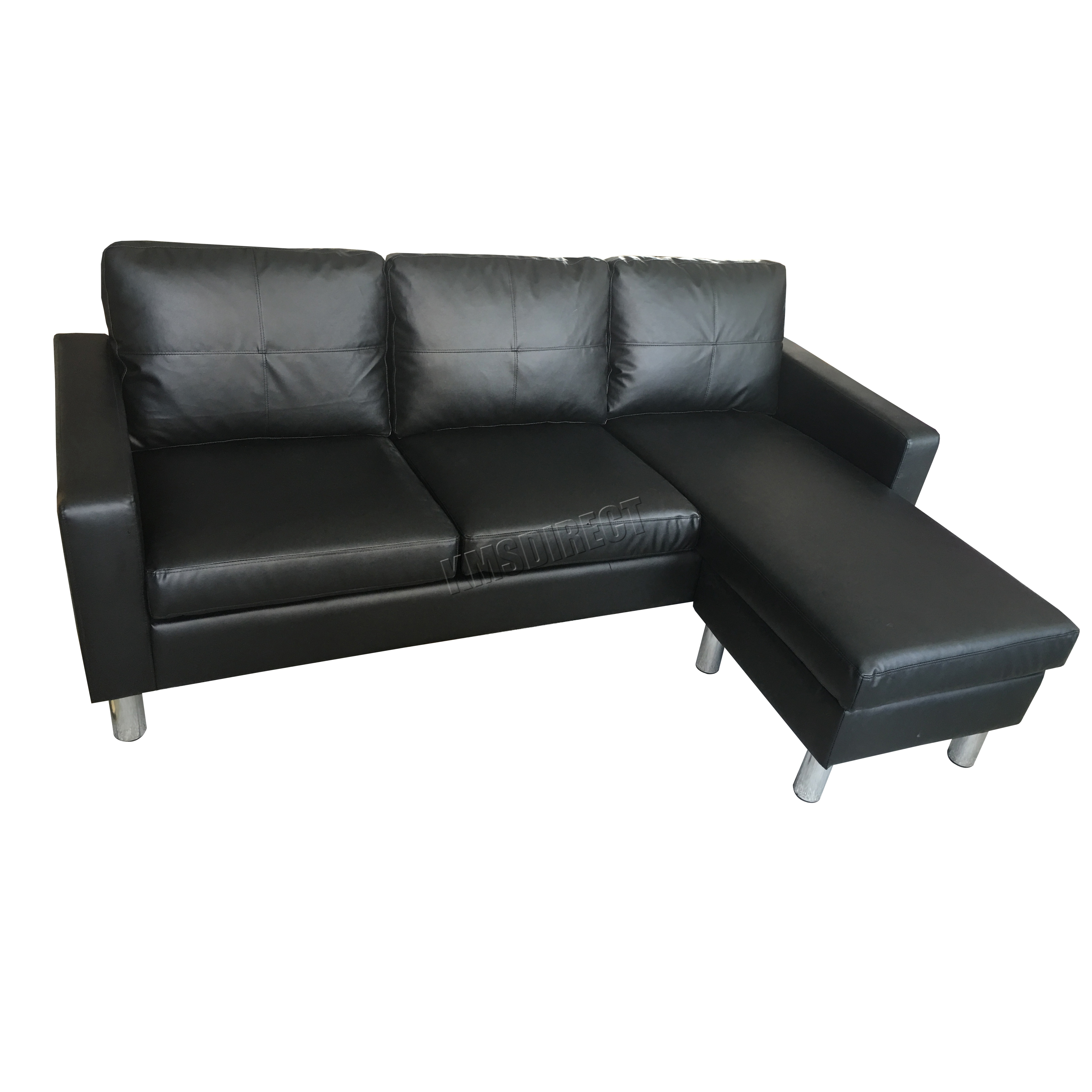 Foxhunter modern pu l shaped corner 3 seater sofa with for 3 seater with chaise lounge
