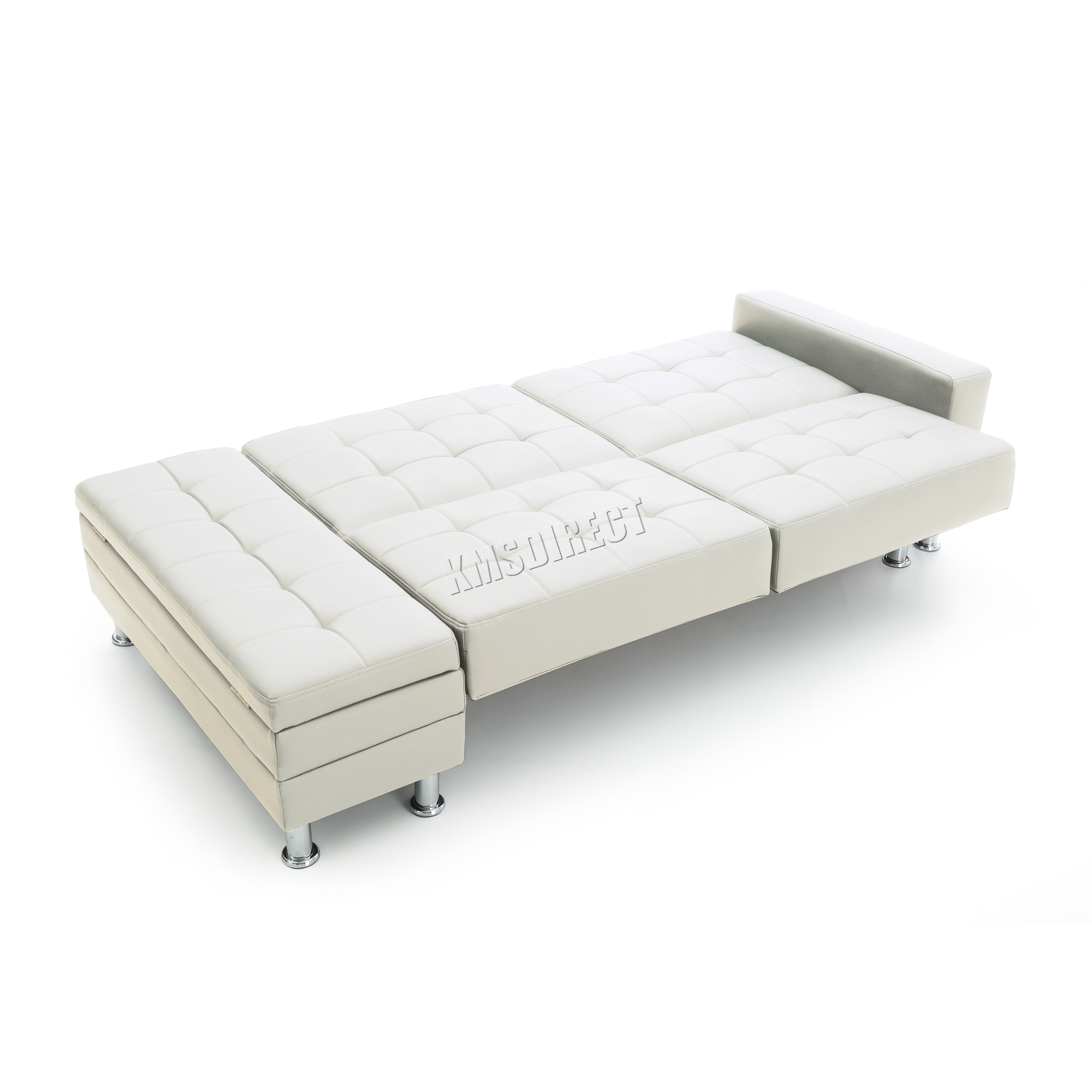 Foxhunter pu sofa bed with storage 3 seater guest sleeper for Sofa bed ottoman