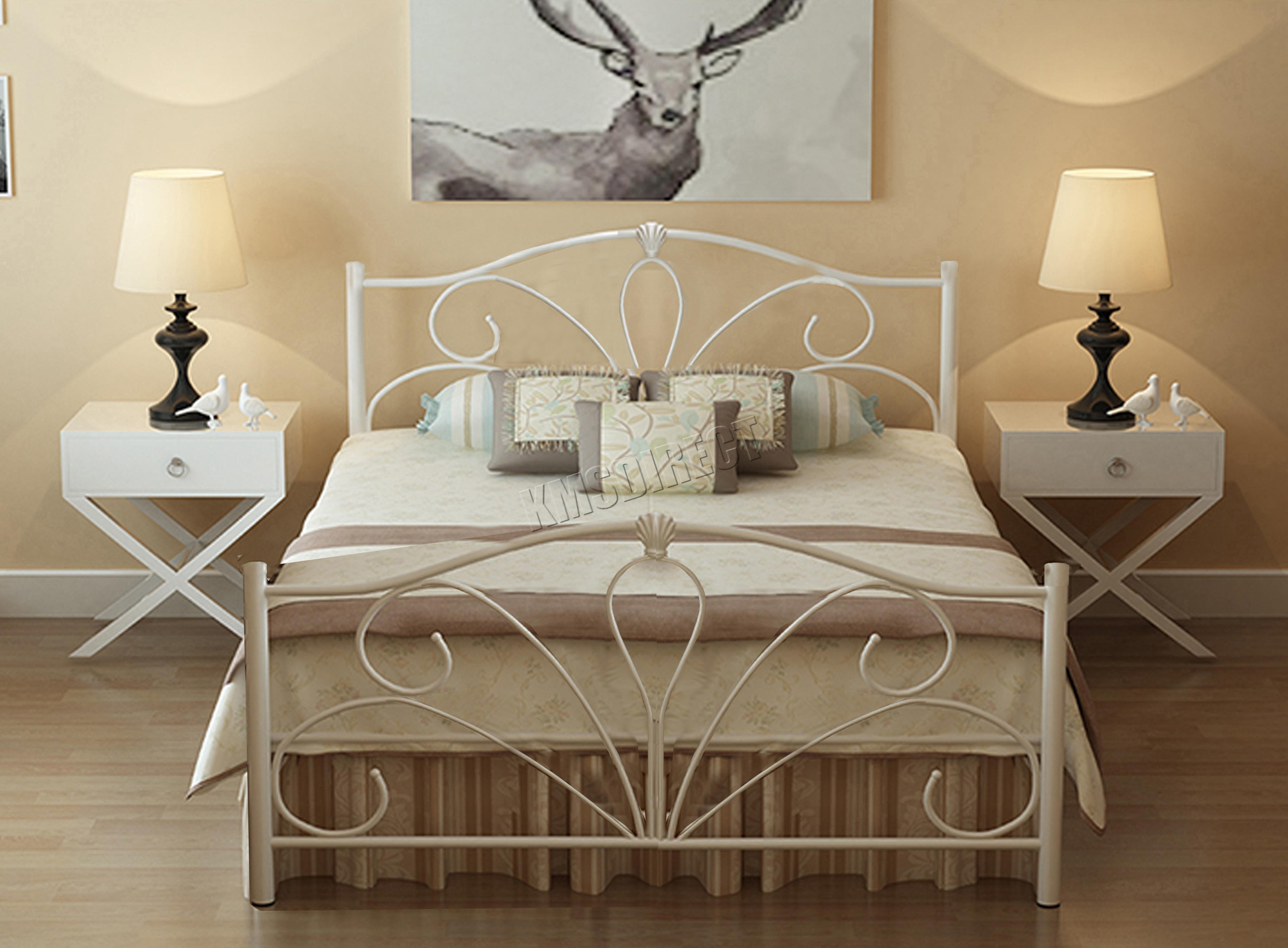 metal bed frame no mattress 4ft6 bedroom furniture white mb02 ebay