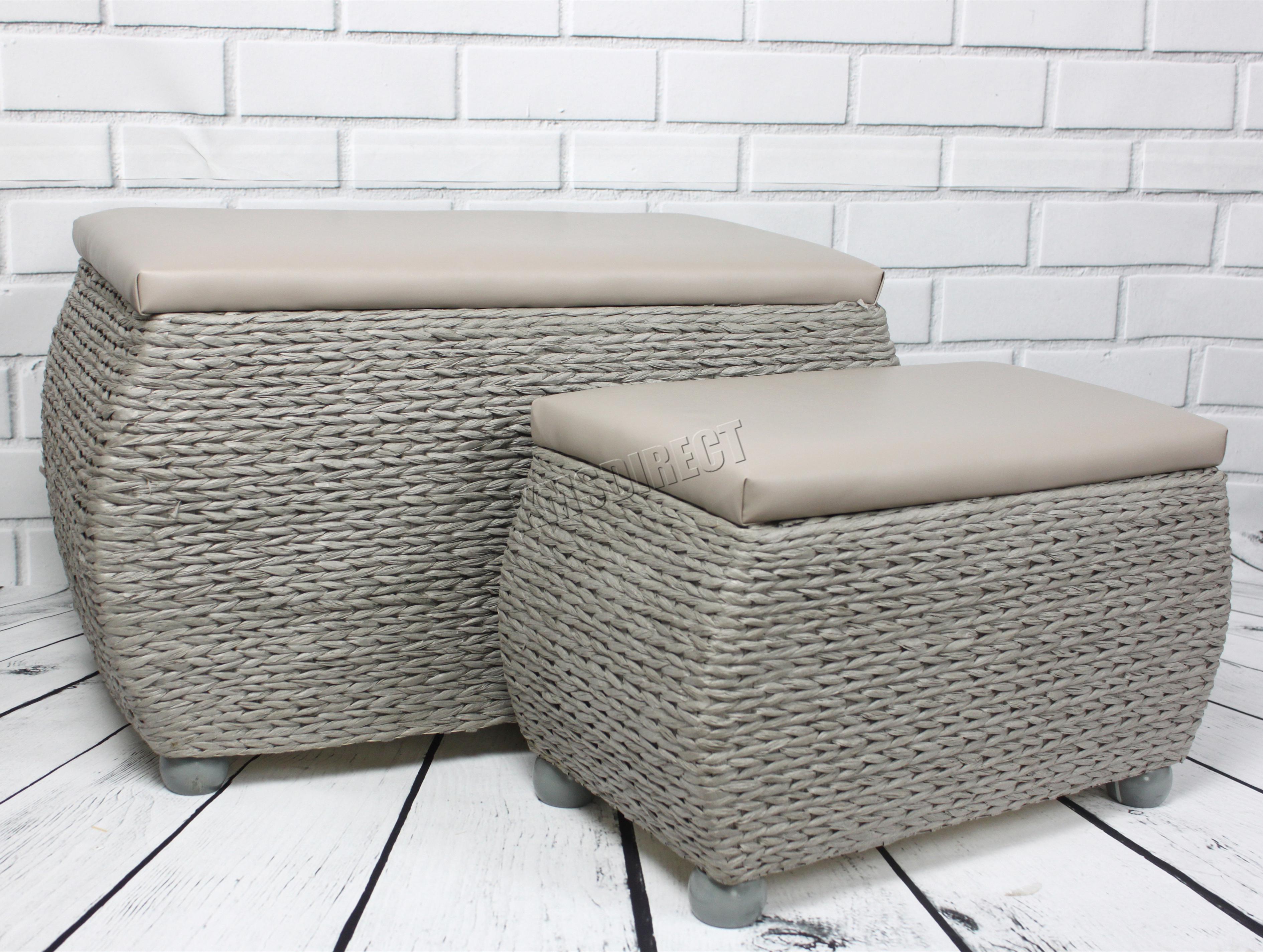 FoxHunter Pair Indoor Storage Bench Woven Twin Rattan Basket Box ...