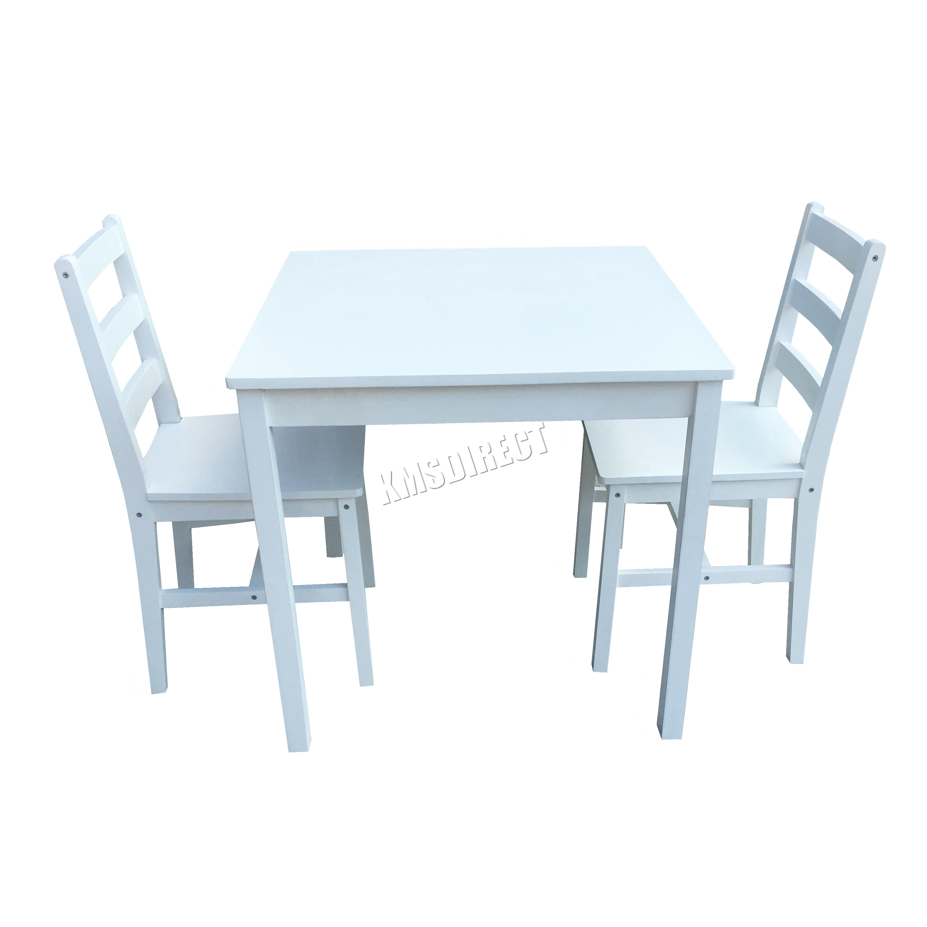 Kitchen Chairs White: FoxHunter Solid Pine Wood Dining Table With 2 Chairs Set