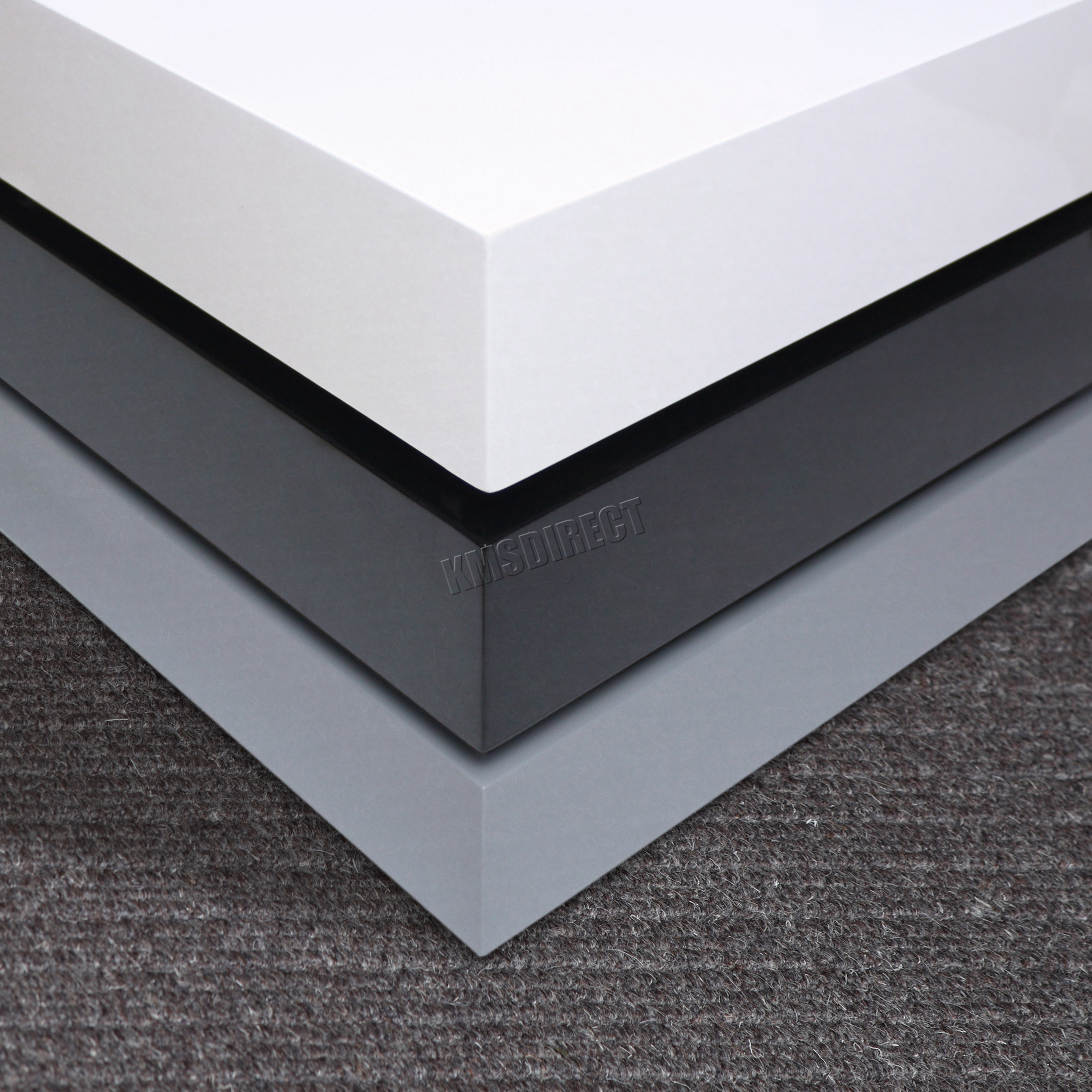 Coffee Table 3 Layers White High Gloss: FoxHunter Coffee Table 3 Layers Square High Gloss MDF CT03
