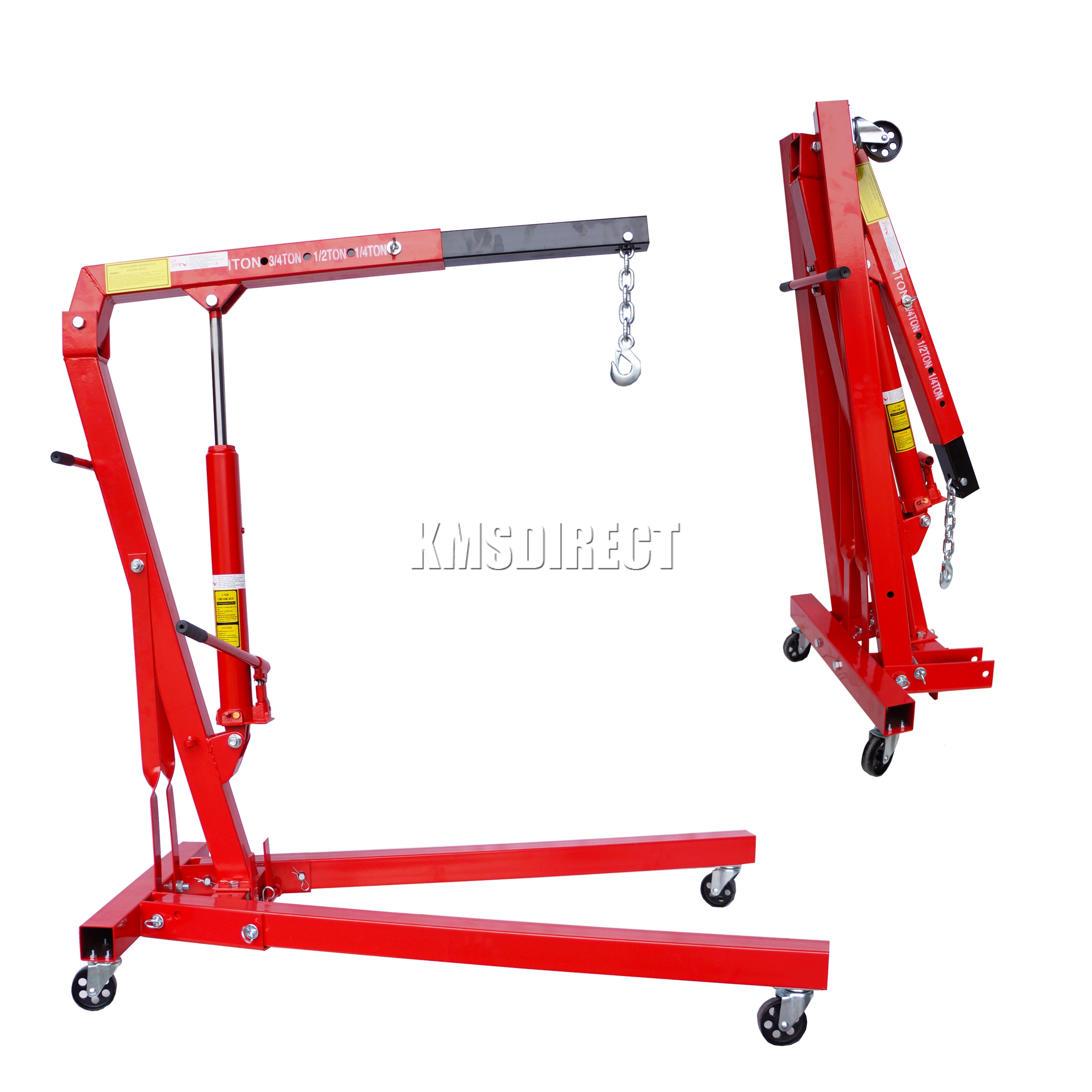 Foxhunter Red 1 Ton Tonne Hydraulic Folding Engine Crane
