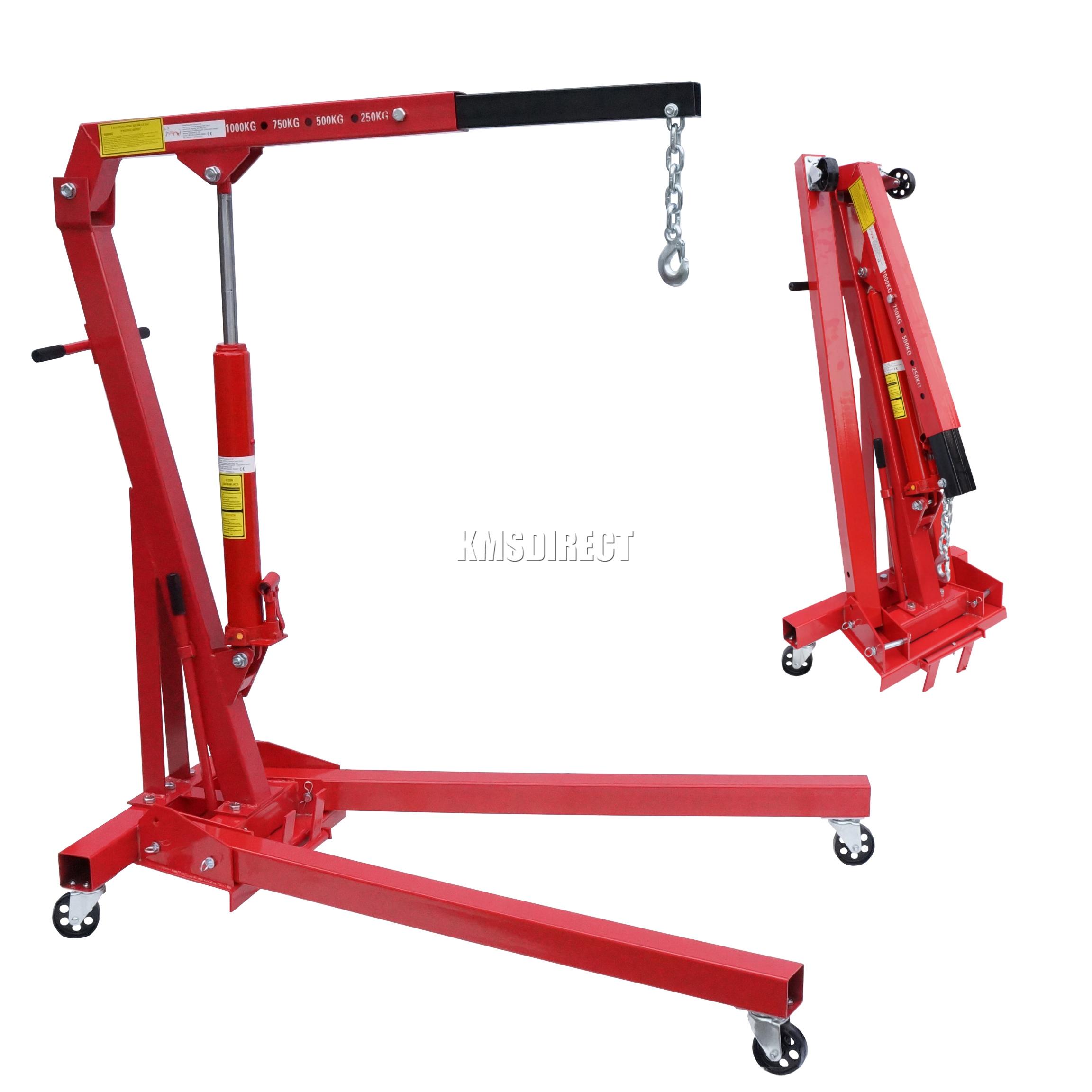 Folding Jack Stands >> FoxHunter Red 1 Ton Tonne Hydraulic Folding Engine Crane Stand Hoist lift Jack | eBay