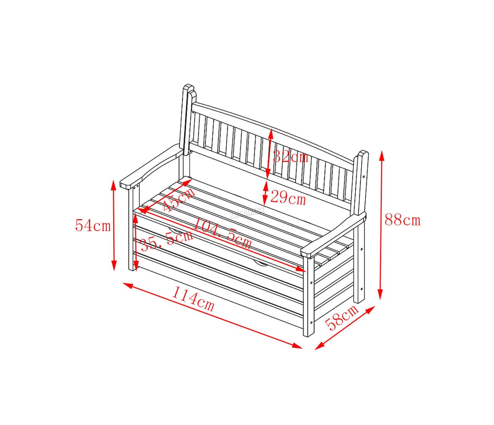 Westwood banc de jardin 2 places Boîte de rangement Chaise Bois Patio Deck Patio Extérieur