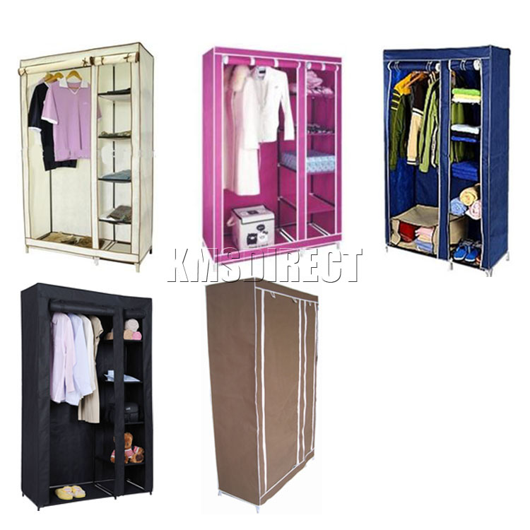 1 OF 4 COLOURS DOUBLE CANVAS WARDROBE CLOTHES STORAGE