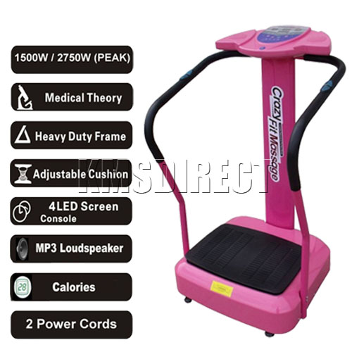 1500W Crazy Fit Vibration Massage Power Plate with MP3 Connection Speaker Pink