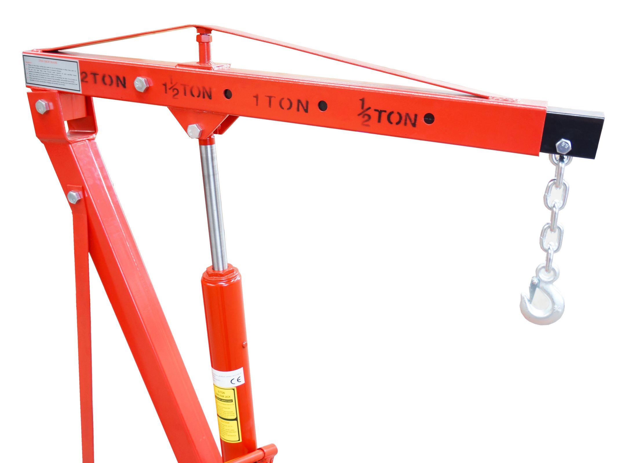 Folding Jack Stands >> FoxHunter Red 2 Ton Hydraulic Folding Engine Crane Stand Hoist lift Jack Wheel | eBay