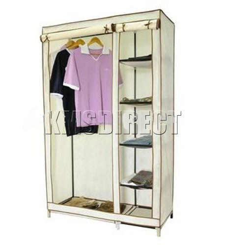 DOUBLE CANVAS WARDROBE CLOTHES RAIL STORAGE NEW BEIGE