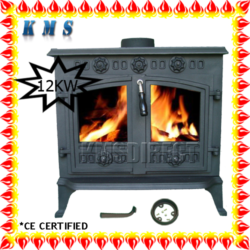 NEW Cast Iron Multi Log Wood Burner Stove 12 kw JA006