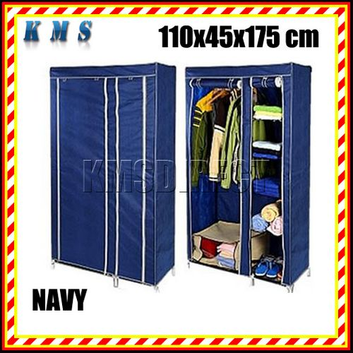 NEW NAVY DOUBLE CANVAS WARDROBE CLOTHES RAIL STORAGE