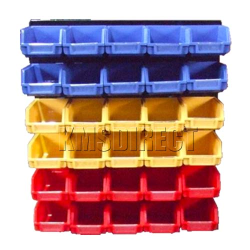 Garage Wall Storage Plastic Bin Kit With 30 Bins 003