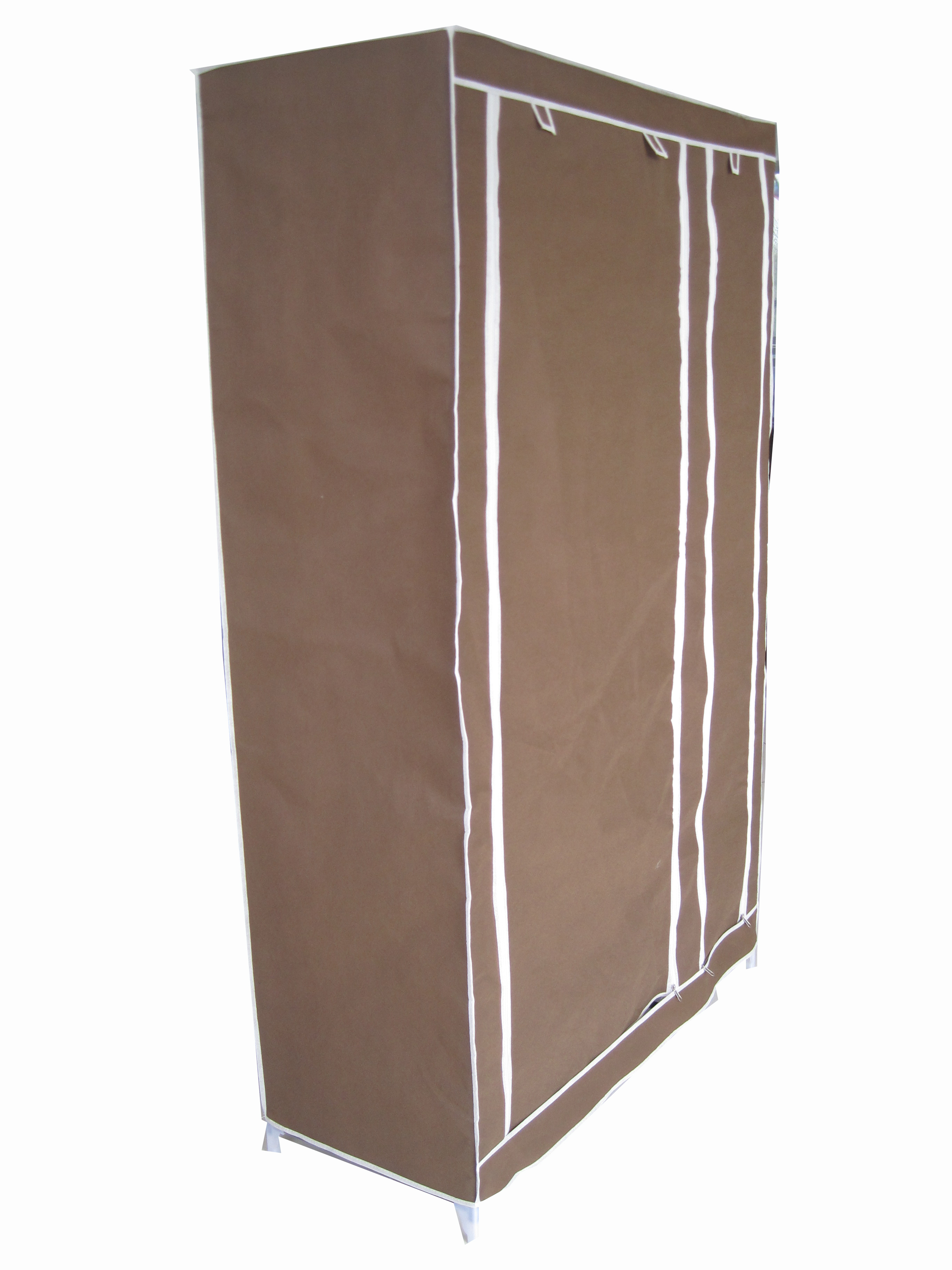 Canvas Storage Boxes For Wardrobes: NEW BROWN DOUBLE CANVAS WARDROBE CLOTHES RAIL STORAGE