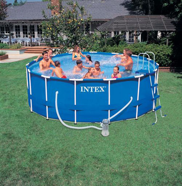 15ft dia x 48in intex metal frame swim pool extras ebay for Garten pool intex
