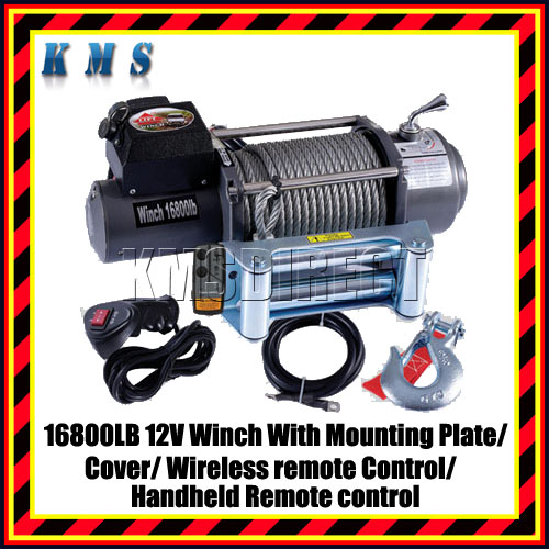 Recovery Winch 16800lb 12V Volt 4X4 with Plate RC Cover Enlarged Preview
