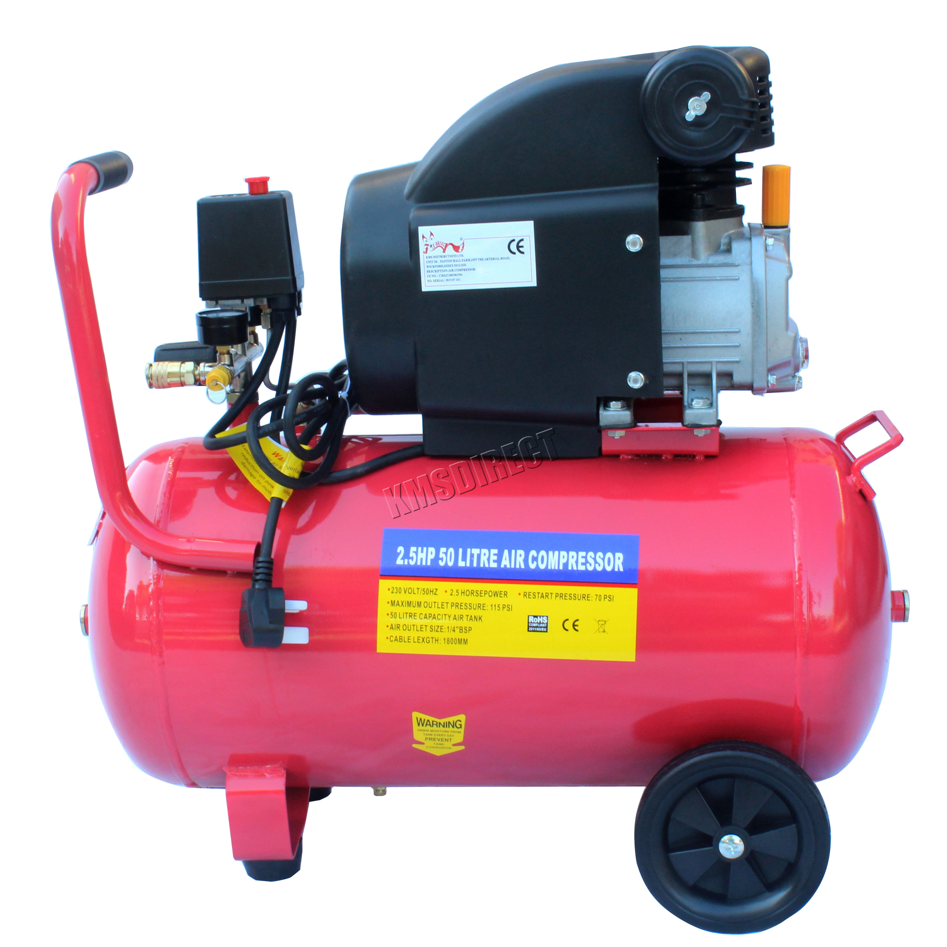 Foxhunter 50ltr 2 5hp electric air compressor 50 ltr 2 5 for 5 hp electric motor for air compressor