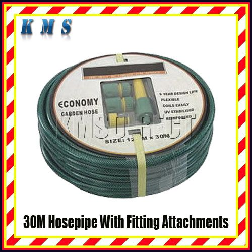 Garden Hose Pipe Reel 30M + Attachments & Spray Nozzle Enlarged Preview