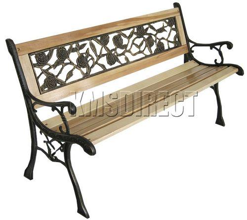 Wooden Slat Garden Bench Seat Cast Iron Legs Rose Style Ebay