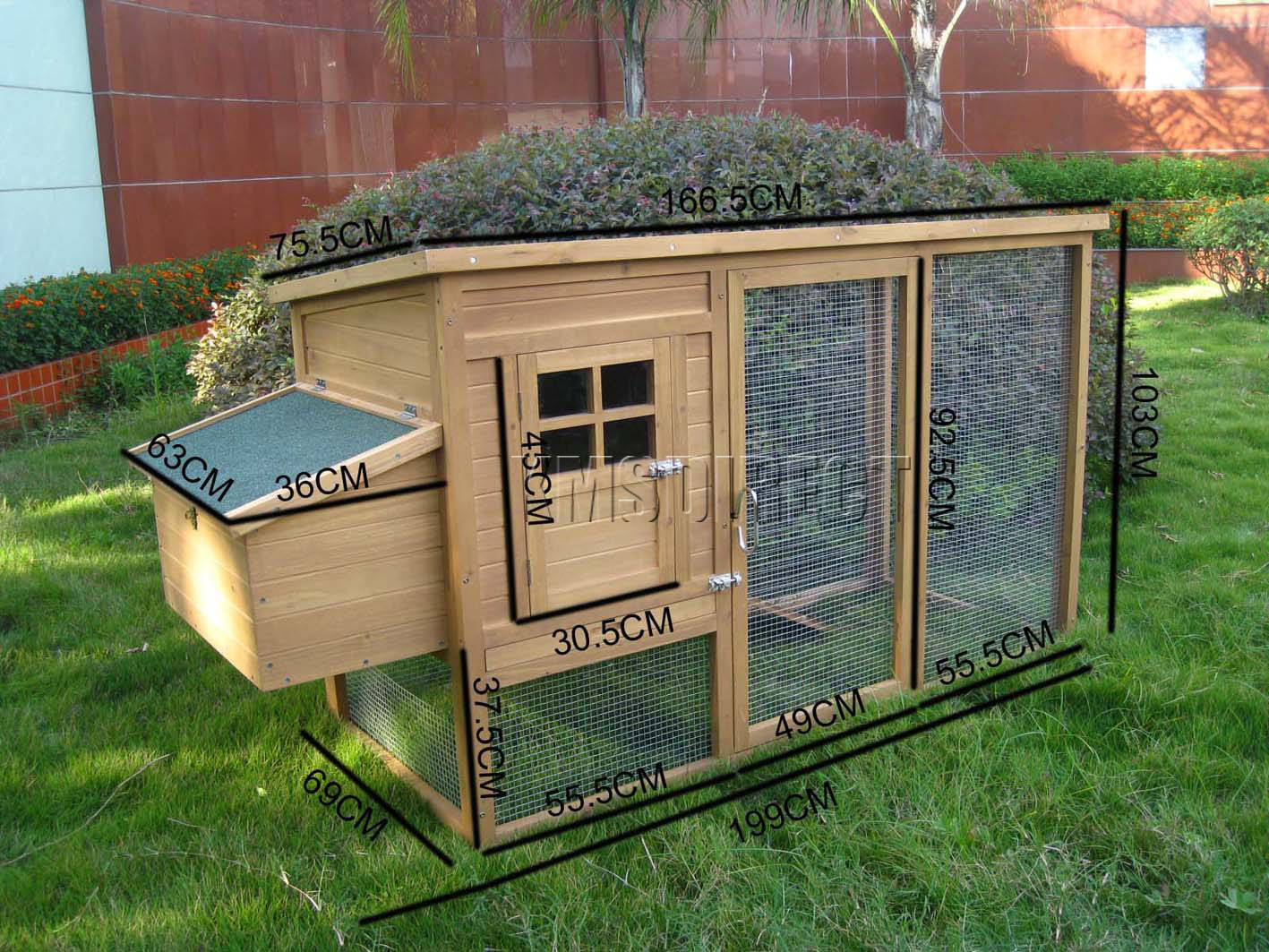 Wooden chicken coop poultry house hen ark with run ebay for Duck run designs