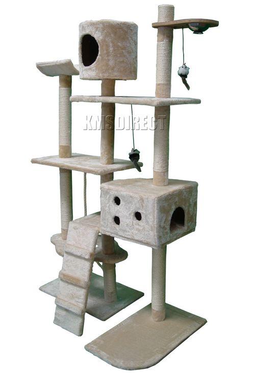 Cat Tree Scratching Post Scratch Activity Centre Bed Toys Scratcher 2299 Beige