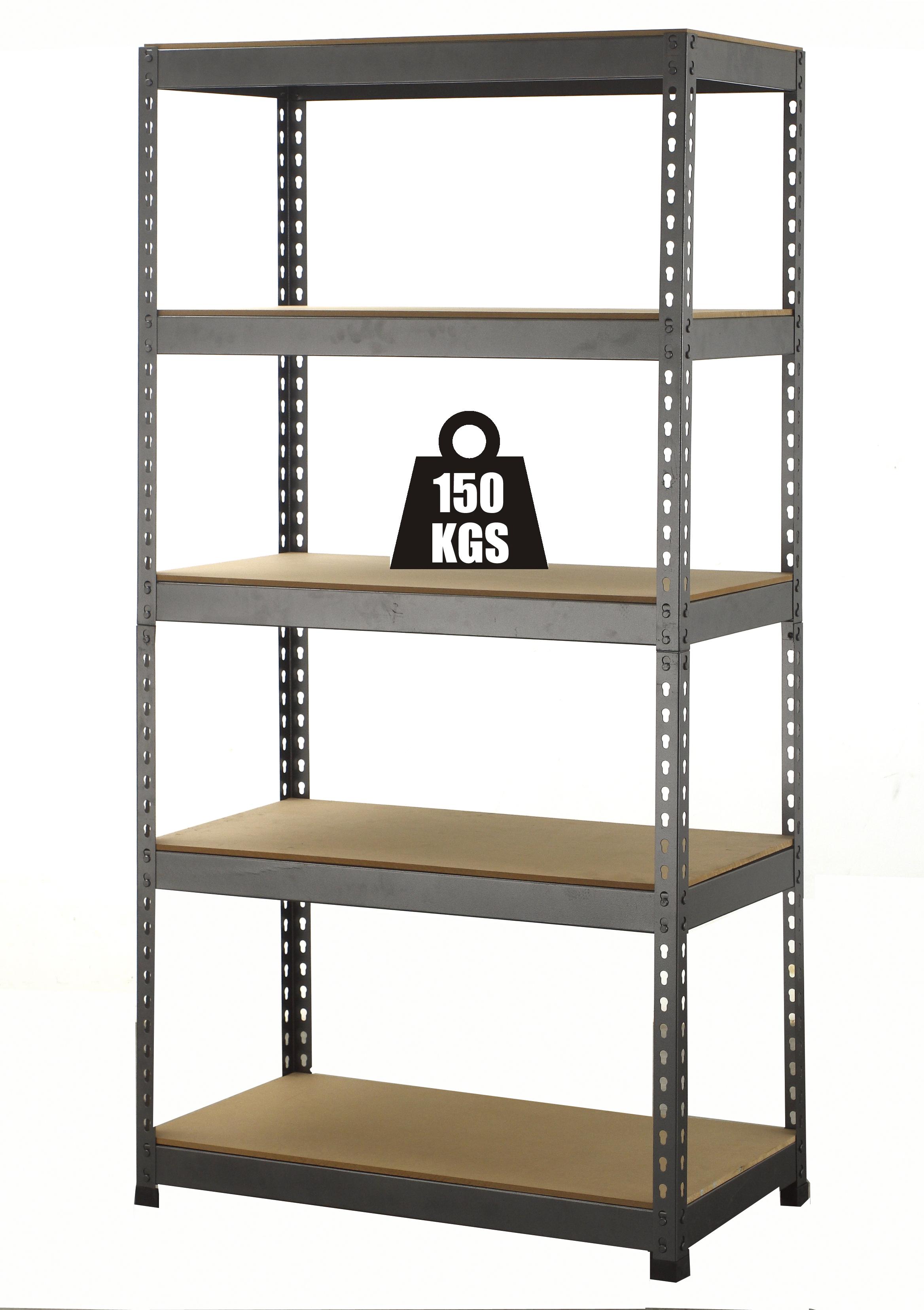 mobiletto in metallo angolare : Scaffale 5 Piani In Metallo Facile Da Montare Senza Bulloni x2 1500H
