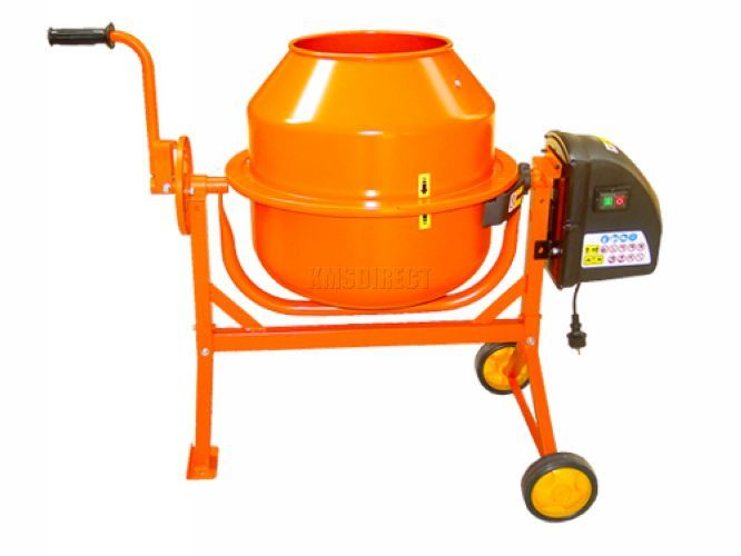 Electric Cement Mixer 63L Litre 240V Volt 220W Portable Concrete Mortar Plaster