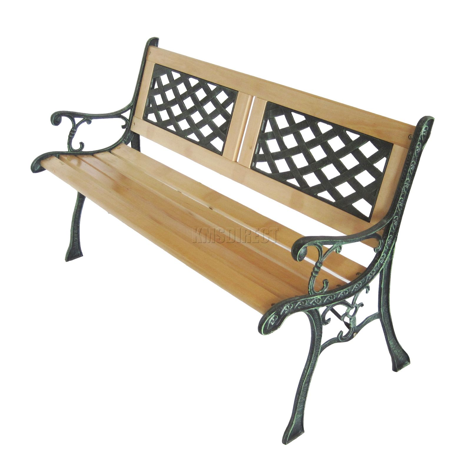 3 seater outdoor wooden garden bench lattice slat with cast iron legs park seat ebay Wrought iron outdoor bench