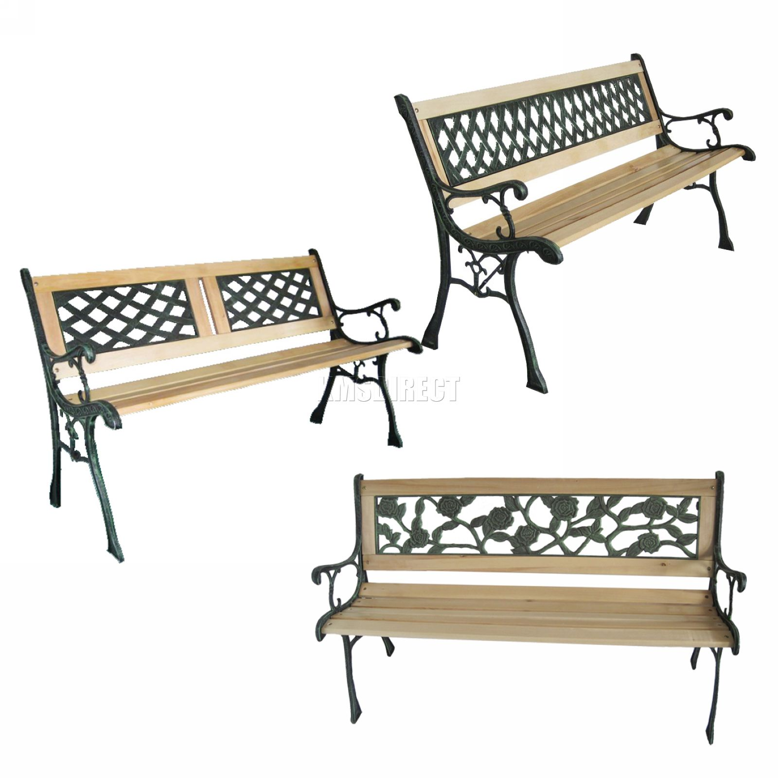 New 3 seater outdoor wooden garden bench with cast iron for Cast iron garden furniture