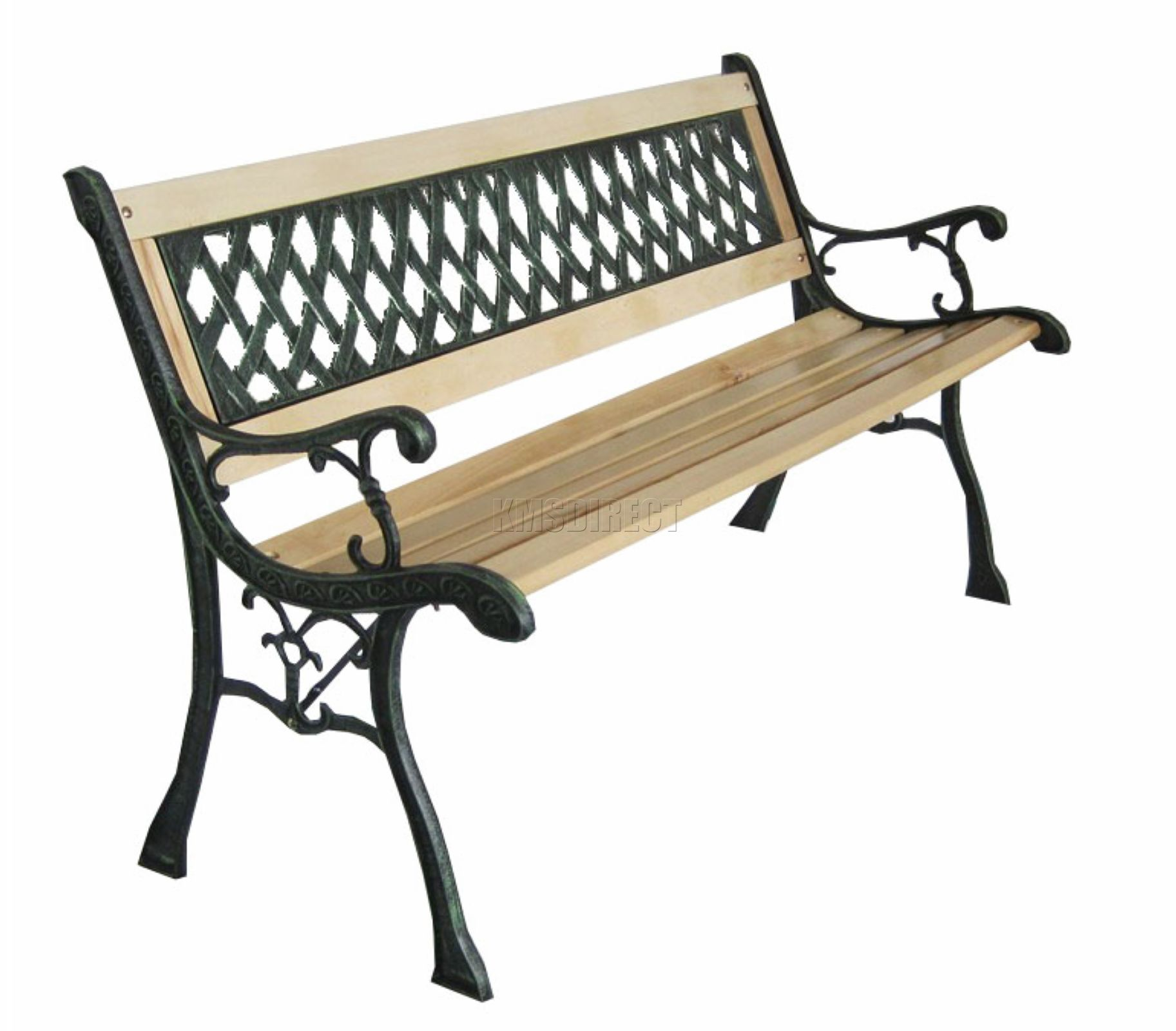 Kms 3 Seater Outdoor Wooden Garden Bench With Cast Iron Legs Park Seat Furniture Ebay