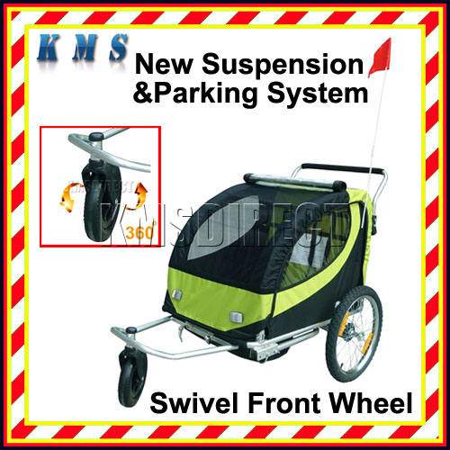 Kid Child Bicycle Bike Trailer Children Stroller with Swivel Front Wheel BLK GRN