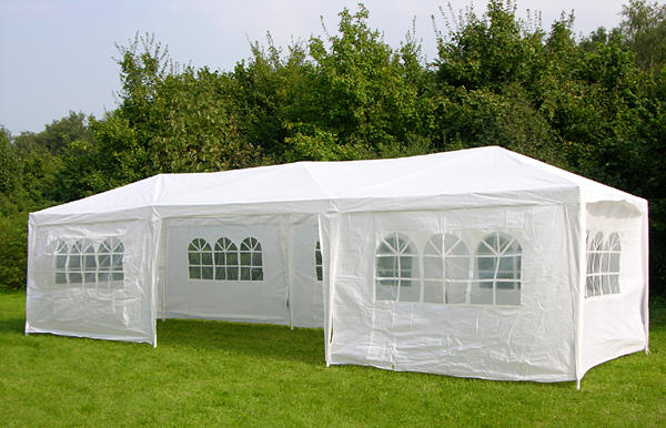 New 3m x 9m White Waterproof Outdoor Garden Gazebo Party Tent Marquee Canopy