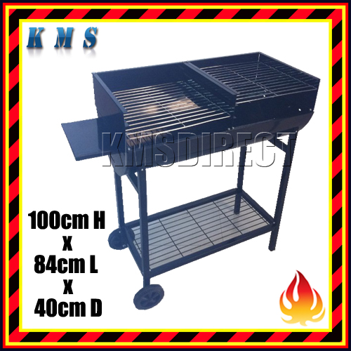 Portable Half Drum Barrel Charcoal BBQ Grill with Side Plate Garden Patio Party