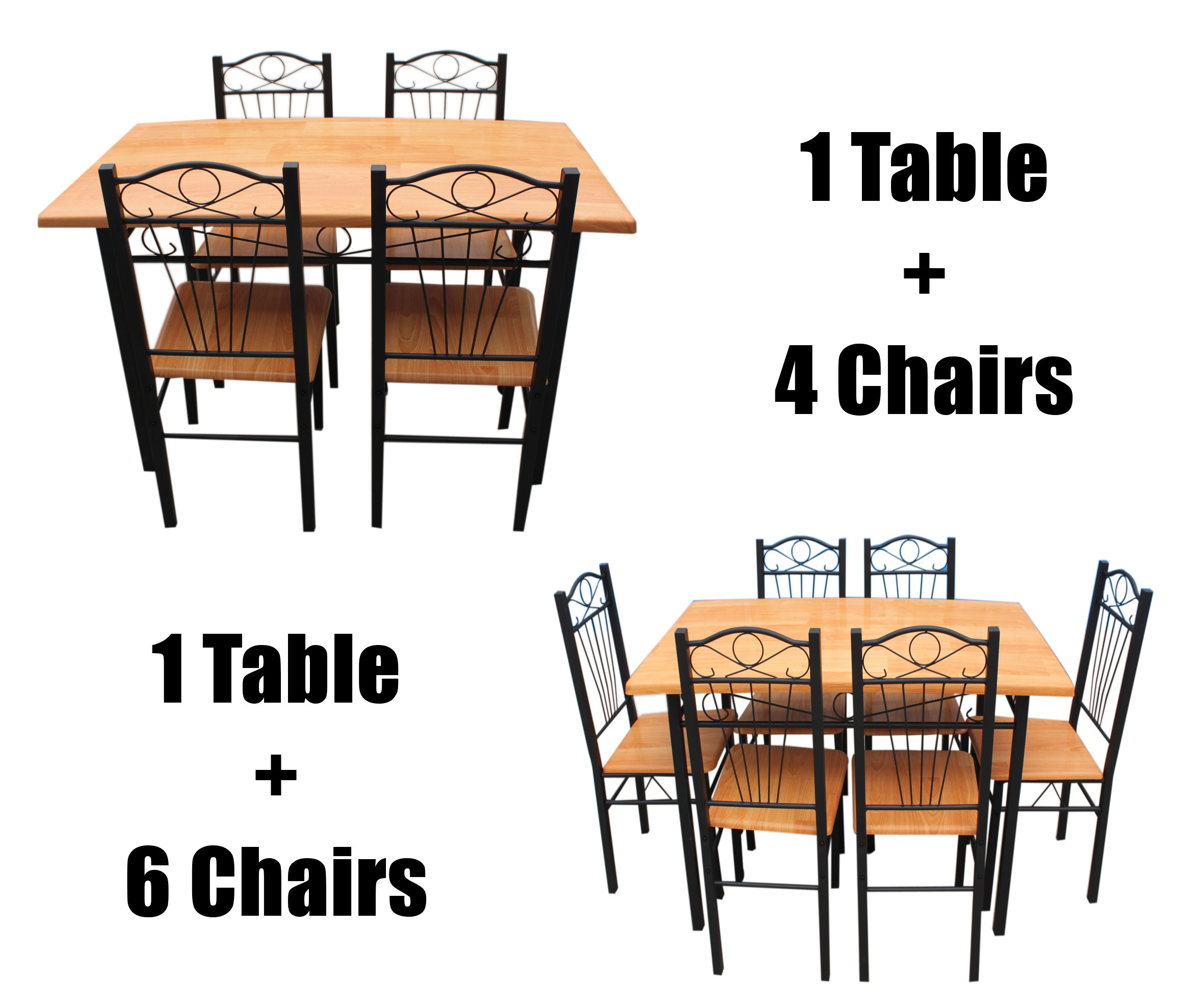 New Kitchen Dining Set with Table Chairs Metal Frame Wood Seat Beech Black Brown