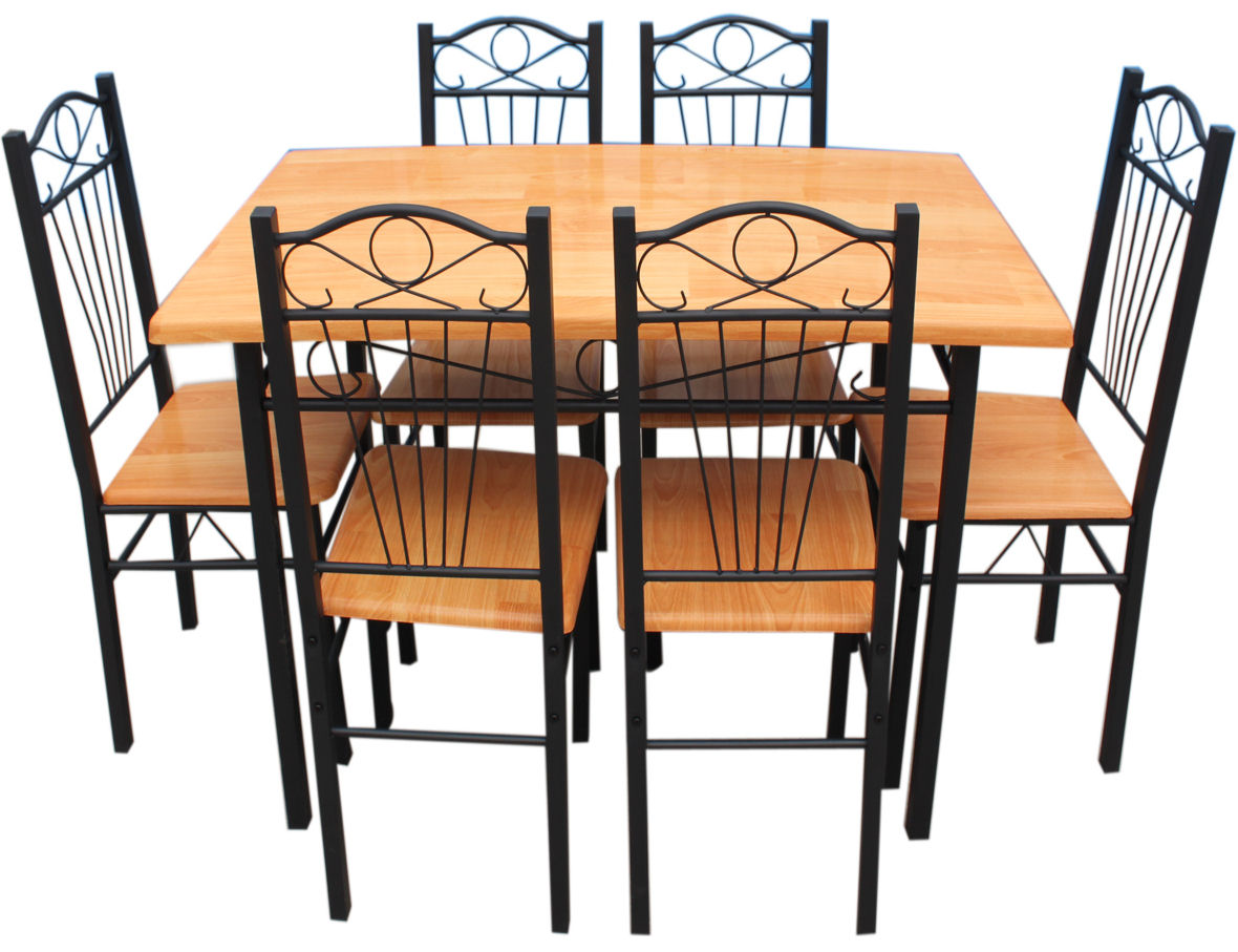 New kitchen dining set with table chairs metal frame wood for Black kitchen table with chairs