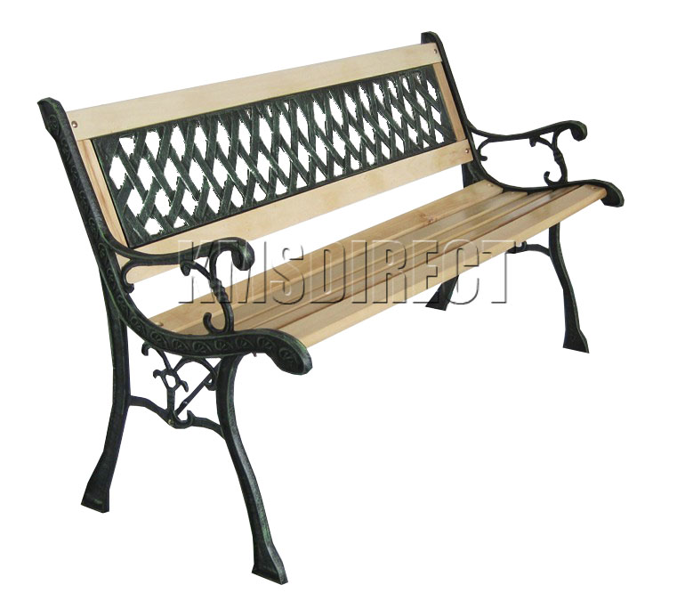 Outdoor Wooden Slat Garden Bench 3 Seat Lattice Style With Cast Iron Legs Park Ebay