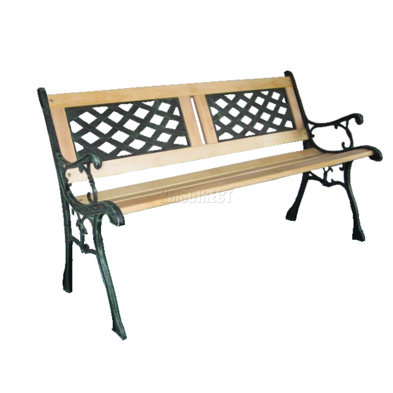 Outdoor Wooden Garden Bench 3 Seat Lattice Slat Style With Cast Iron Legs Park Ebay