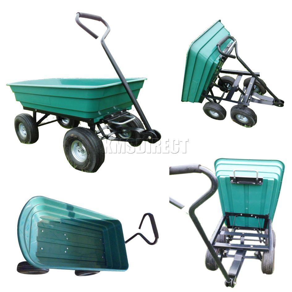 4 Wheel Garden Dump Cart Truck Trolley Wheelbarrow Tipper