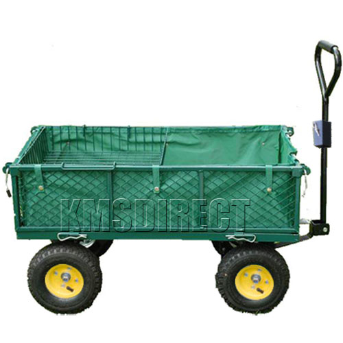 4 Wheel Garden Cart Truck Trolley Wheelbarrow Tipper