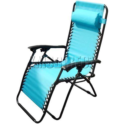 SBlue Textoline Zero Gravity Garden Foldable Recliner Sun Lounger Lounge Chair