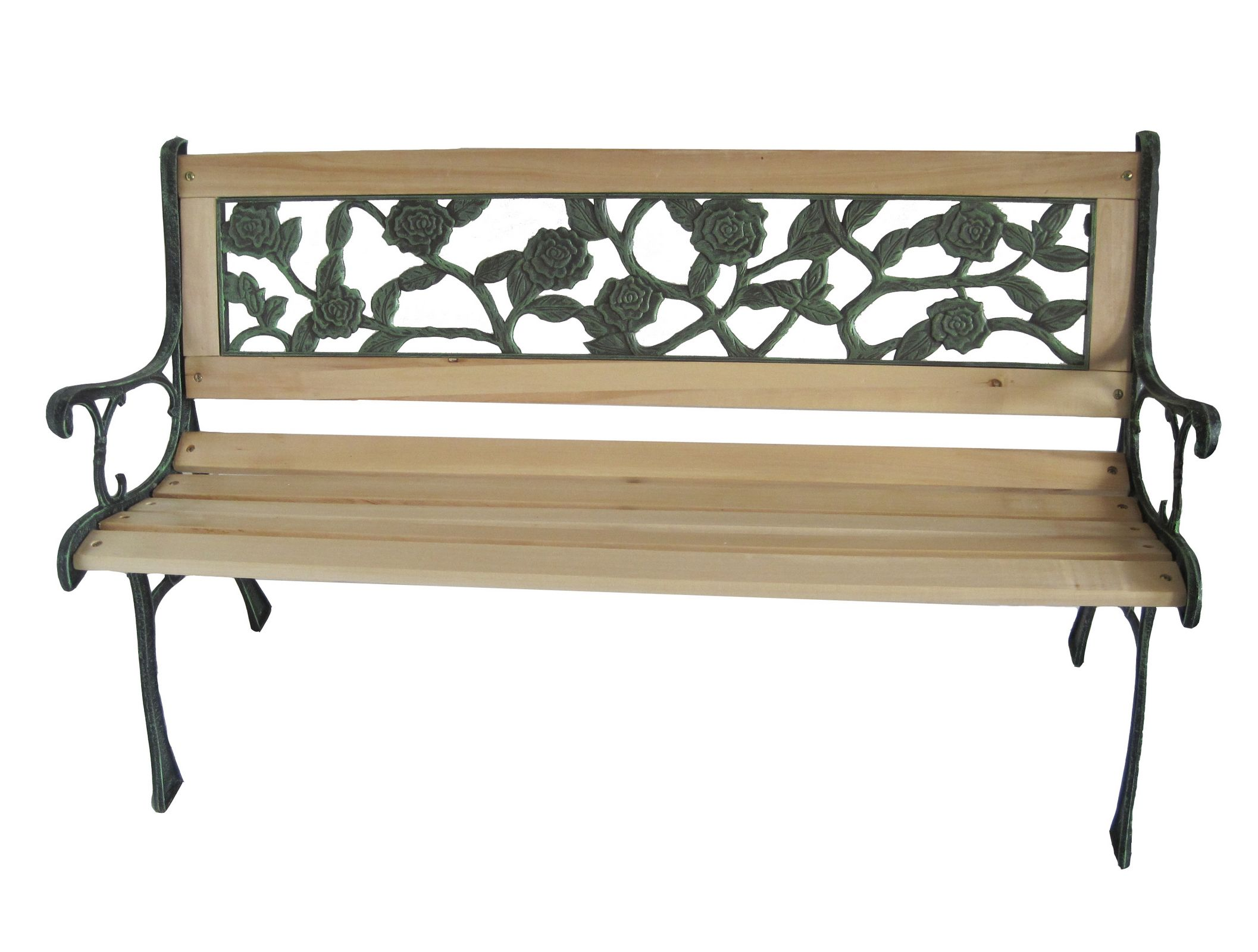 Wooden slat garden bench seat cast iron legs rose style ebay Wrought iron outdoor bench