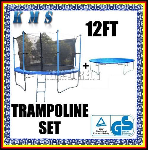 12ft Trampoline With Safety Net Enclosure Ladder Padding