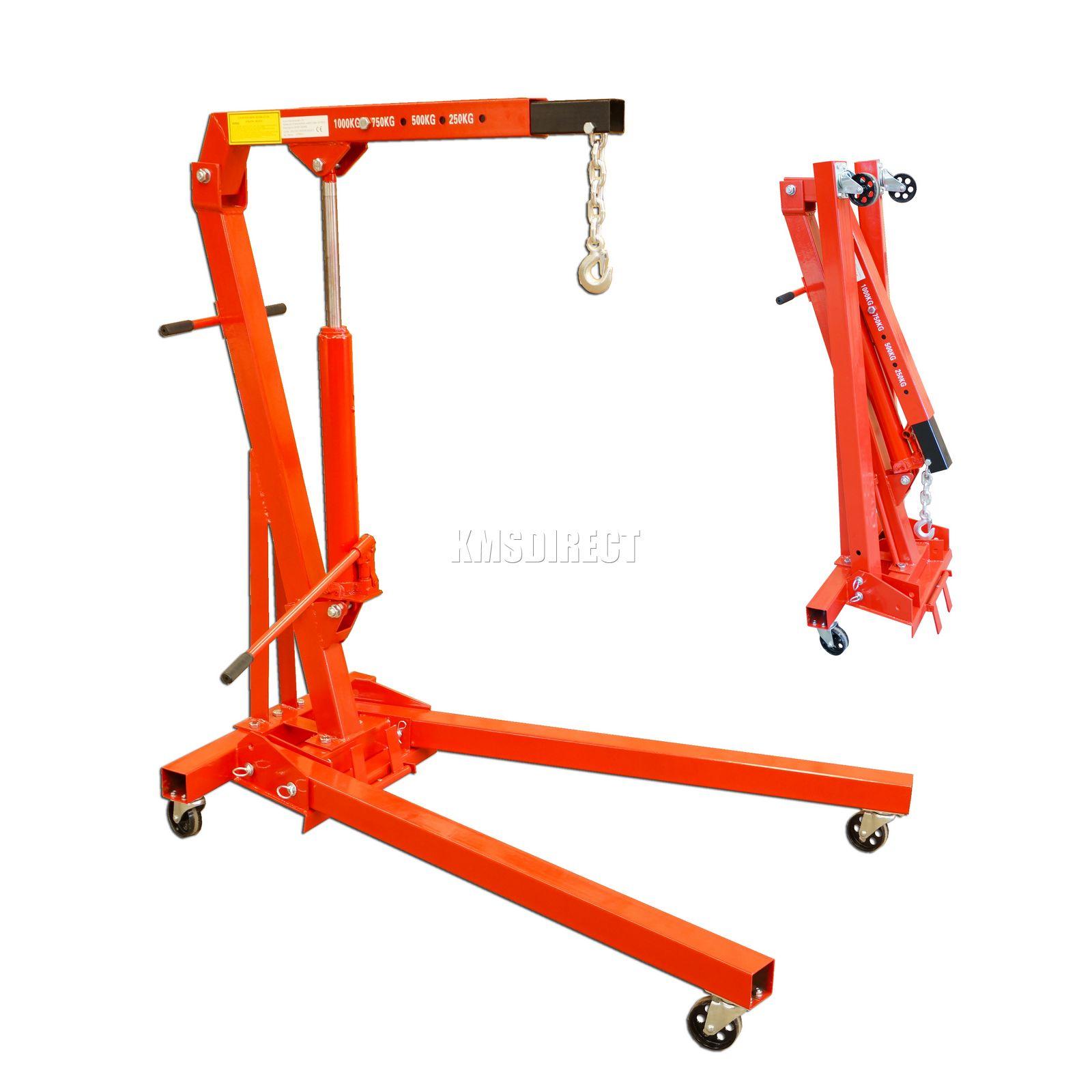 1 Ton Tonne Hydraulic Folding Engine Crane Stand Hoist lift Jack With Wheels New